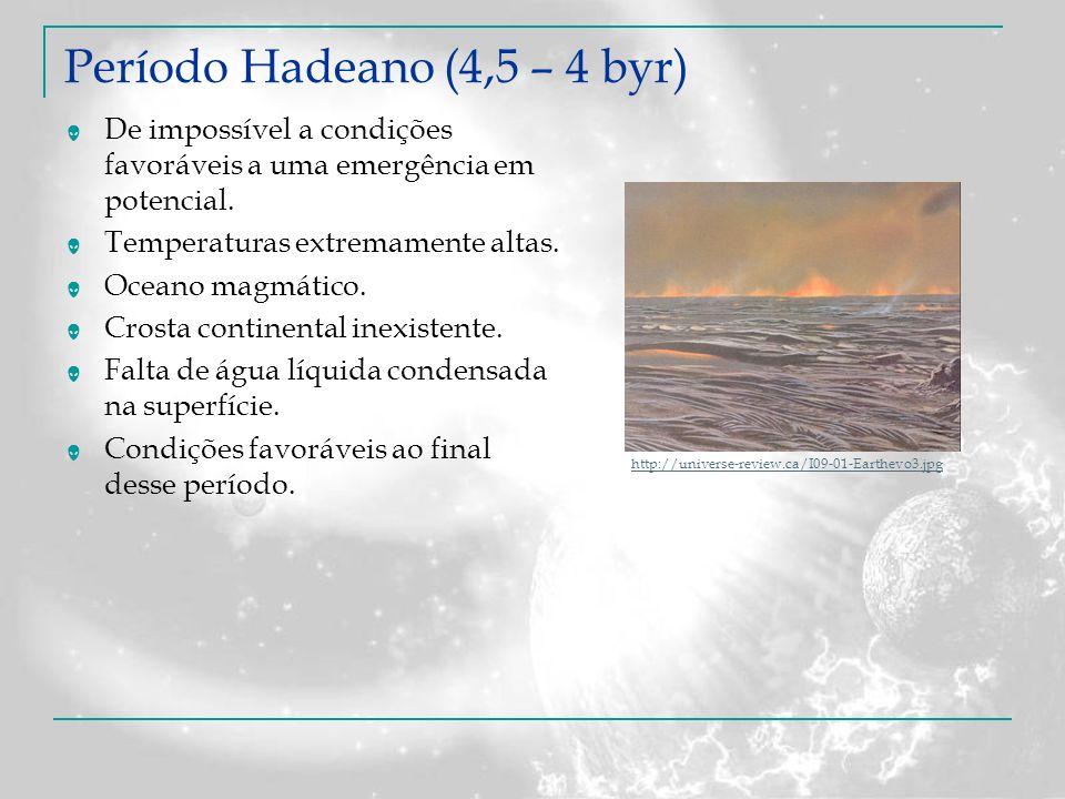 Período Hadeano (4,5 – 4 byr) De impossível a condições favoráveis a uma emergência em potencial. Temperaturas extremamente altas. Oceano magmático. C