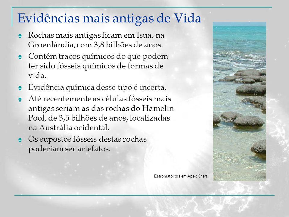 Evidências mais antigas de Vida Rochas mais antigas ficam em Isua, na Groenlândia, com 3,8 bilhões de anos. Contém traços químicos do que podem ter si
