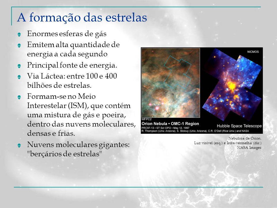 A formação das estrelas Enormes esferas de gás Emitem alta quantidade de energia a cada segundo Principal fonte de energia. Via Láctea: entre 100 e 40
