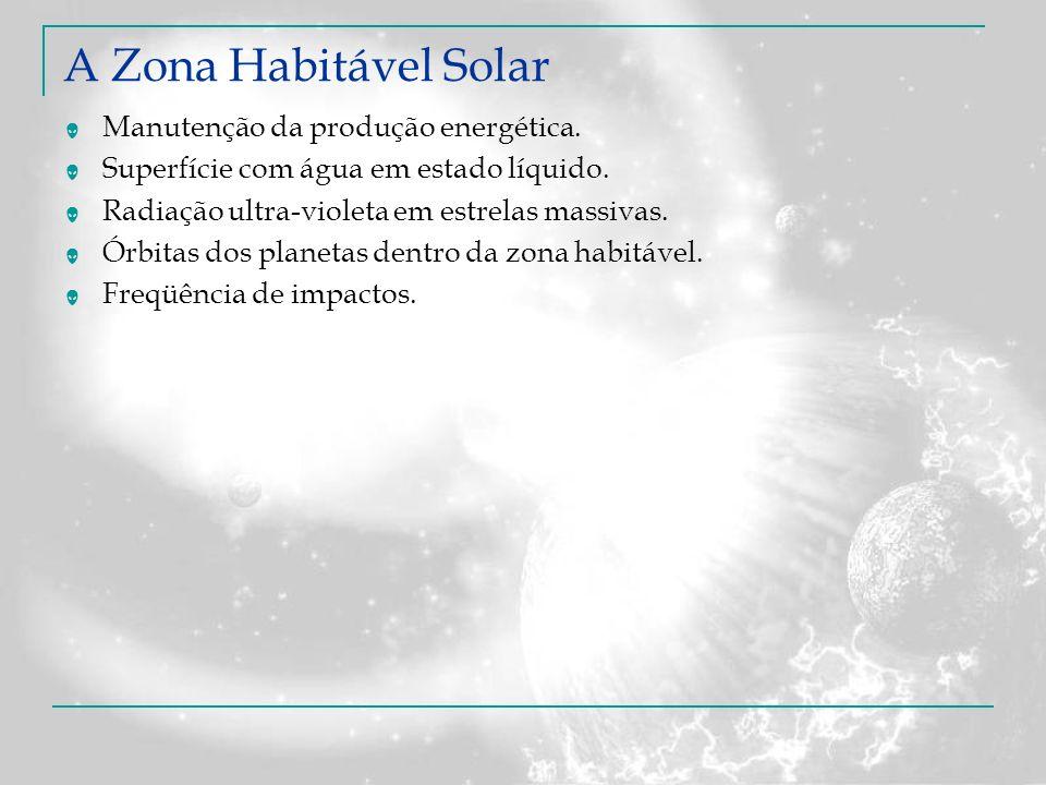 Manutenção da produção energética. Superfície com água em estado líquido. Radiação ultra-violeta em estrelas massivas. Órbitas dos planetas dentro da