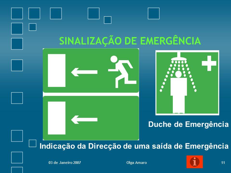 03 de Janeiro 2007Olga Amaro11 SINALIZAÇÃO DE EMERGÊNCIA Duche de Emergência Indicação da Direcção de uma saída de Emergência