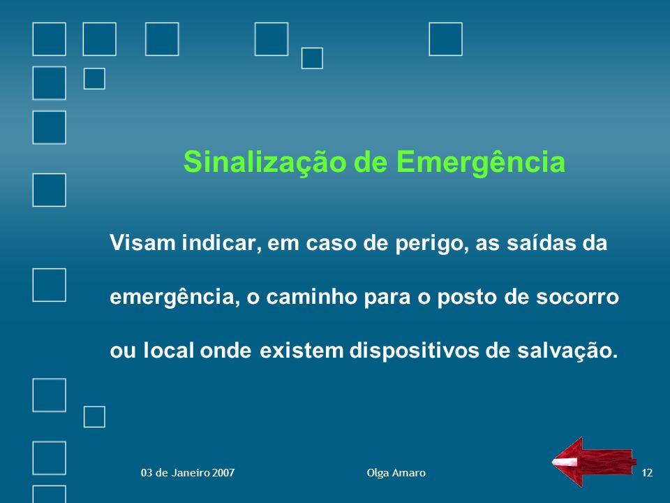 03 de Janeiro 2007Olga Amaro12 Sinalização de Emergência Visam indicar, em caso de perigo, as saídas da emergência, o caminho para o posto de socorro