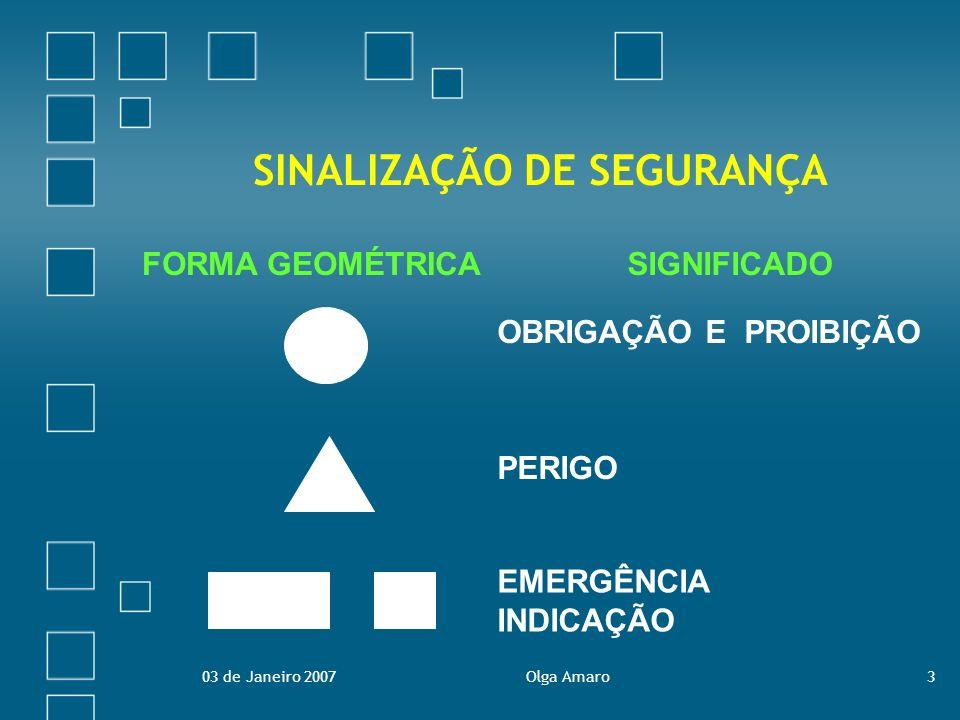 03 de Janeiro 2007Olga Amaro14 Sinalização de Obrigação Visam prescrever um determinado comportamento.