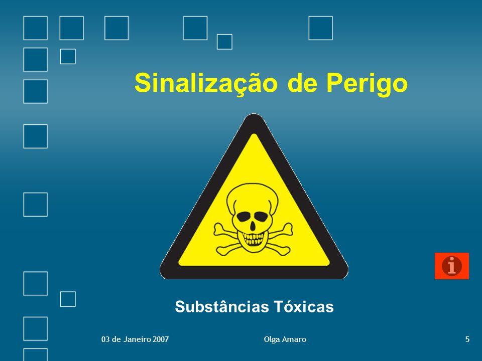 03 de Janeiro 2007Olga Amaro6 Sinalização de Perigo Visam advertir para uma situação, objecto ou acção susceptível de originar dano ou lesão pessoal.