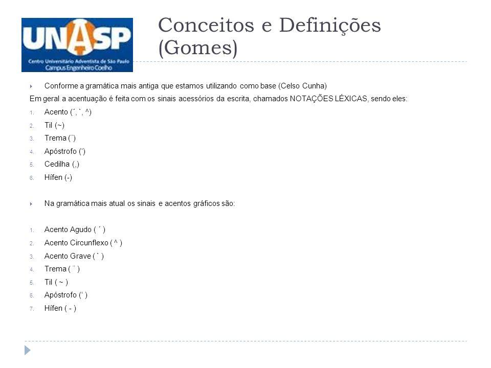 Conforme a gramática mais antiga que estamos utilizando como base (Celso Cunha) Em geral a acentuação é feita com os sinais acessórios da escrita, chamados NOTAÇÕES LÉXICAS, sendo eles: 1.
