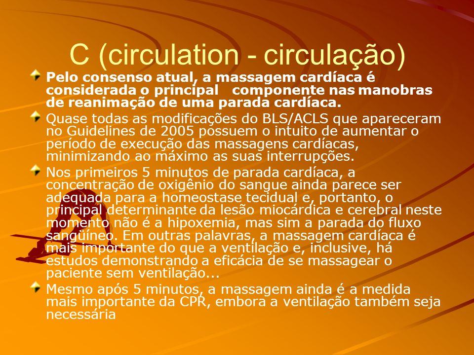 SEGUE A ROTINA... C (Circulation) Massagem cardíacas