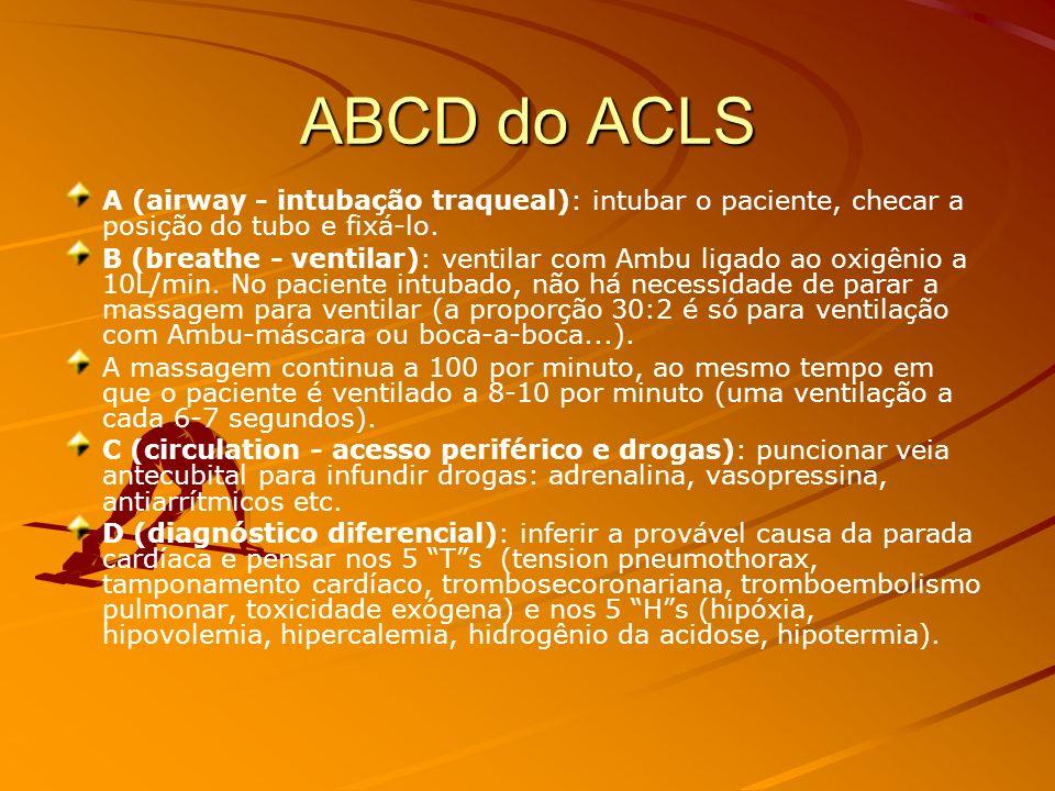 ACLS NO QUE CONSISTE O ACLS? São medidas de suporte mais avançado,incluindo a obtenção de uma via aérea definitiva (ex.: tubo endotraqueal), acesso ve