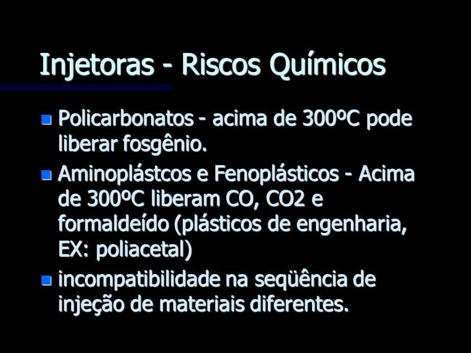 Injetoras - Riscos Químicos n Policarbonatos - acima de 300ºC pode liberar fosgênio. n Aminoplástcos e Fenoplásticos - Acima de 300ºC liberam CO, CO2