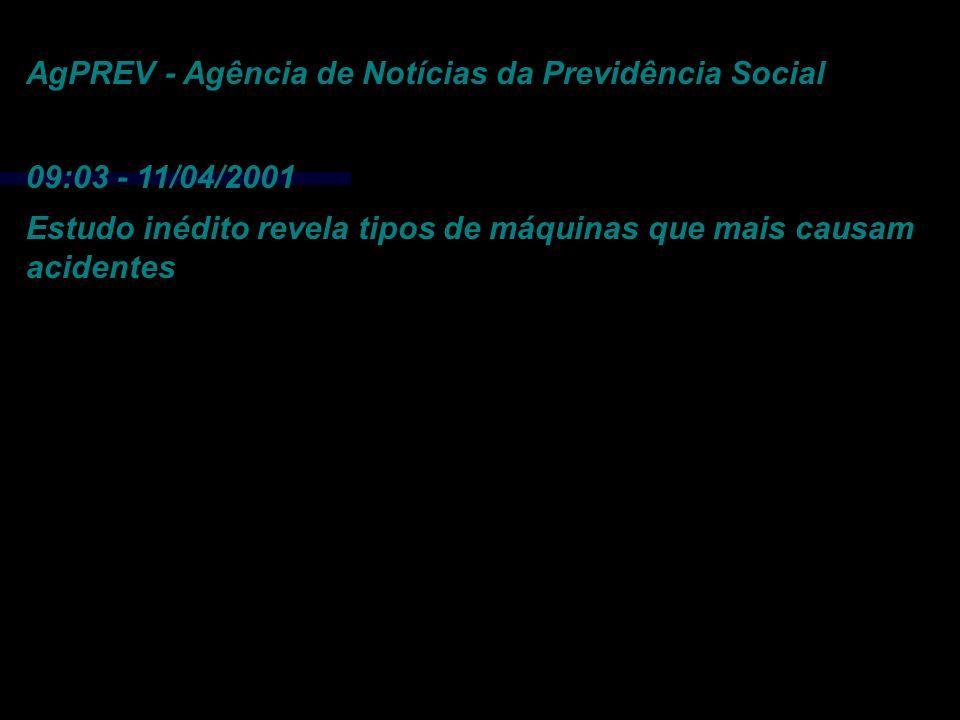AgPREV - Agência de Notícias da Previdência Social 09:03 - 11/04/2001 Estudo inédito revela tipos de máquinas que mais causam acidentes Gastos com aci