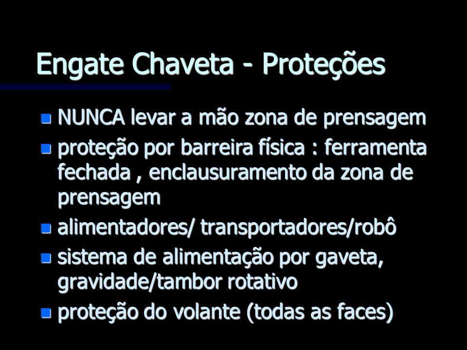 Engate Chaveta - Proteções n NUNCA levar a mão zona de prensagem n proteção por barreira física : ferramenta fechada, enclausuramento da zona de prens
