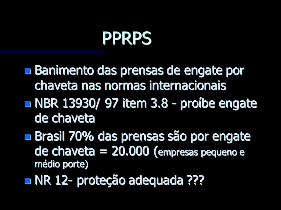 PPRPS n Banimento das prensas de engate por chaveta nas normas internacionais n NBR 13930/ 97 item 3.8 - proíbe engate de chaveta n Brasil 70% das pre