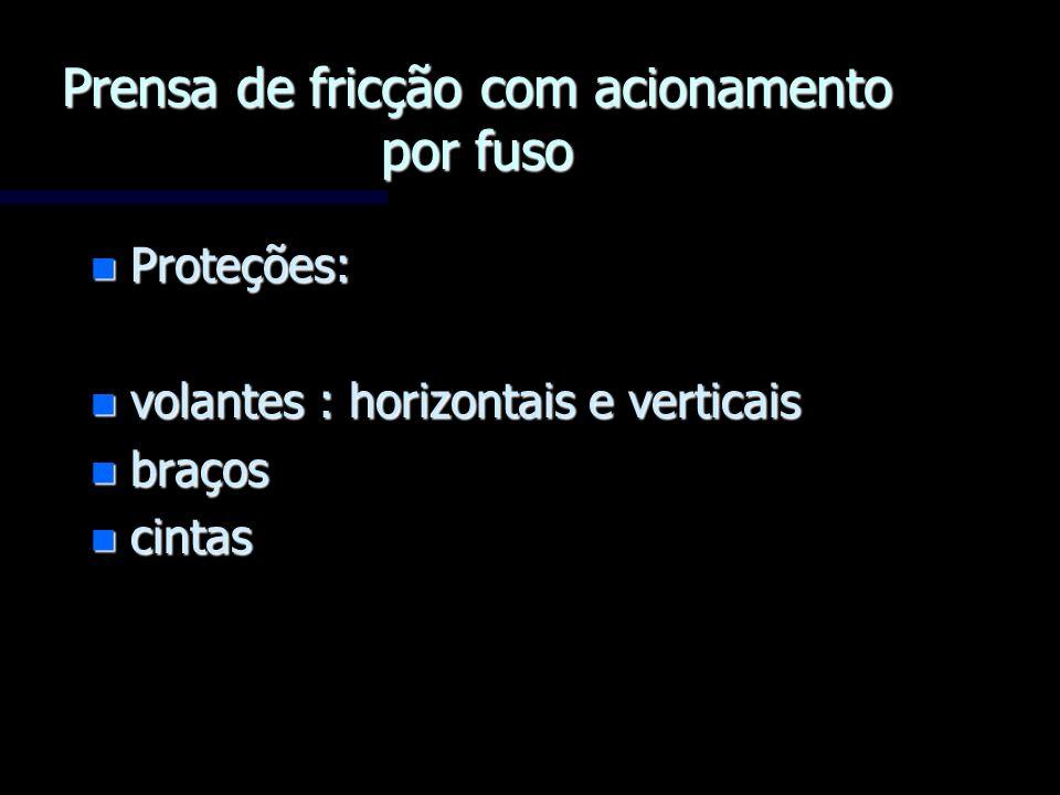 n Proteções: n volantes : horizontais e verticais n braços n cintas