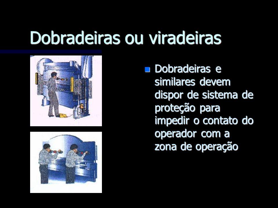 Dobradeiras ou viradeiras n Dobradeiras e similares devem dispor de sistema de proteção para impedir o contato do operador com a zona de operação