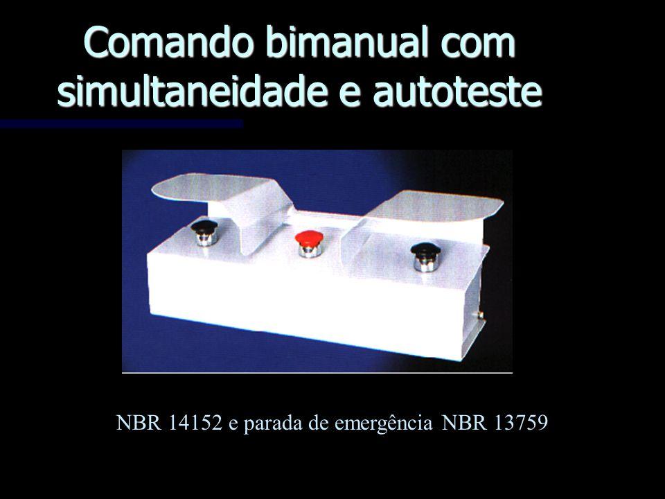 Comando bimanual com simultaneidade e autoteste NBR 14152 e parada de emergência NBR 13759