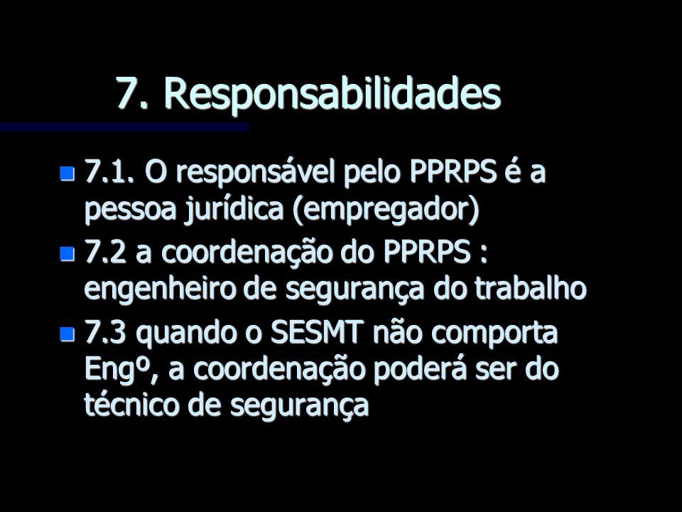 7. Responsabilidades n 7.1. O responsável pelo PPRPS é a pessoa jurídica (empregador) n 7.2 a coordenação do PPRPS : engenheiro de segurança do trabal
