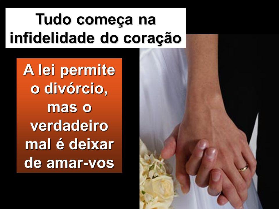 A lei permite o divórcio, mas o verdadeiro mal é deixar de amar-vos Tudo começa na infidelidade do coração
