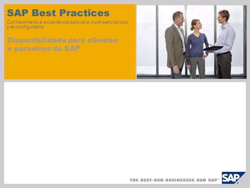 SAP Best Practices Conhecimento e experiência setorial e multi-setorial dos pré-configurados Disponibilidade para clientes e parceiros da SAP