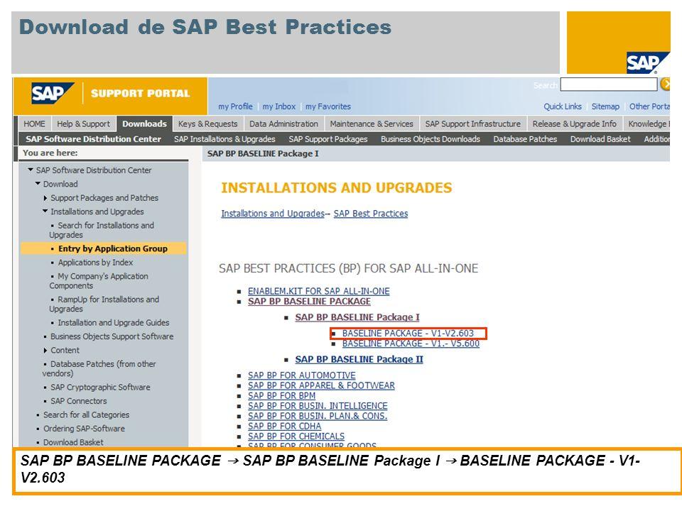 Download de SAP Best Practices SAP BP BASELINE PACKAGE SAP BP BASELINE Package I BASELINE PACKAGE - V1- V2.603