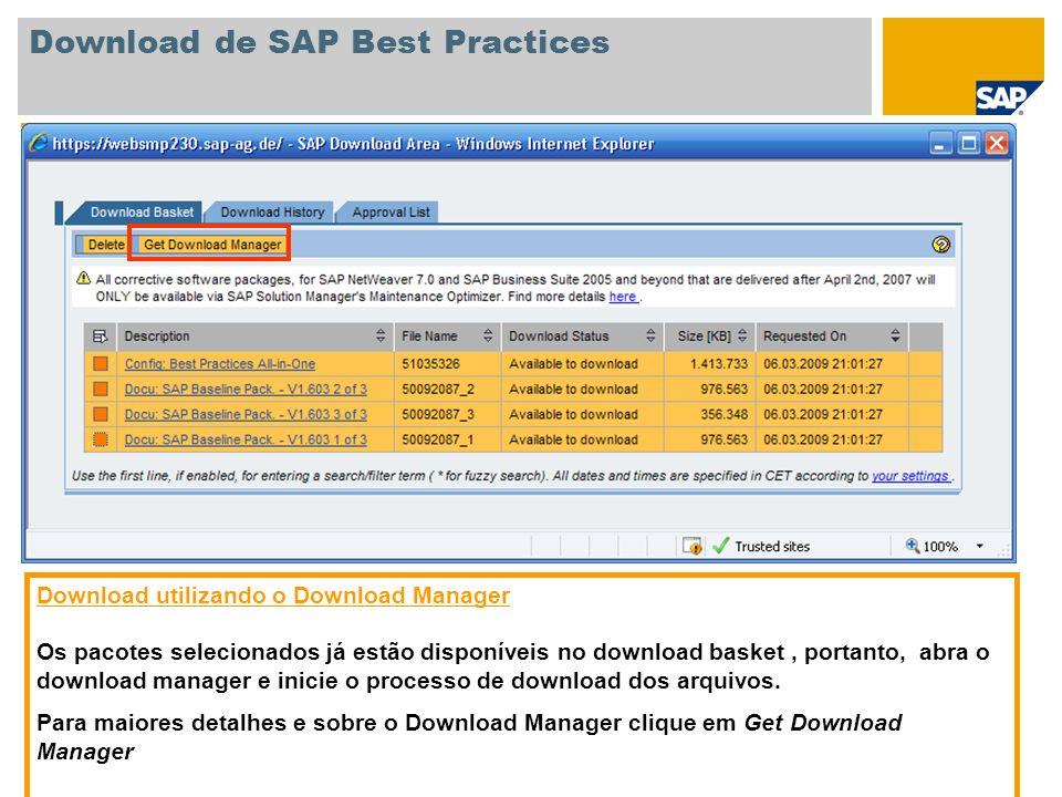 Download de SAP Best Practices Download utilizando o Download Manager Os pacotes selecionados já estão disponíveis no download basket, portanto, abra