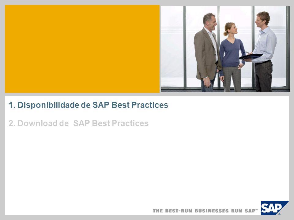 Download de SAP Best Practices Download utilizando o Download Manager Os pacotes selecionados já estão disponíveis no download basket, portanto, abra o download manager e inicie o processo de download dos arquivos.