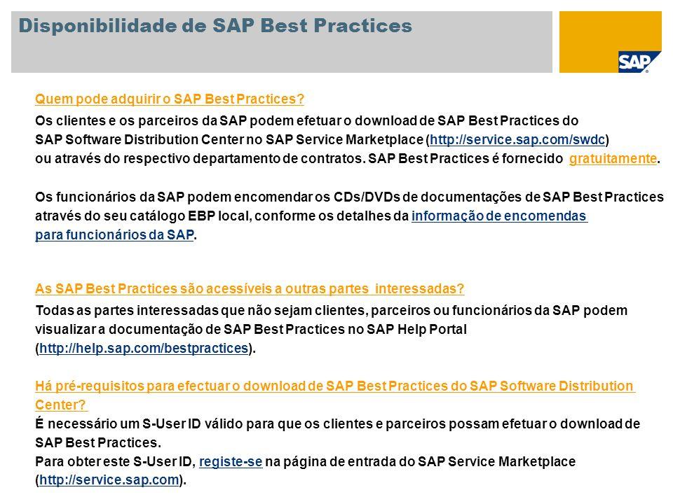 Quem pode adquirir o SAP Best Practices? Os clientes e os parceiros da SAP podem efetuar o download de SAP Best Practices do SAP Software Distribution