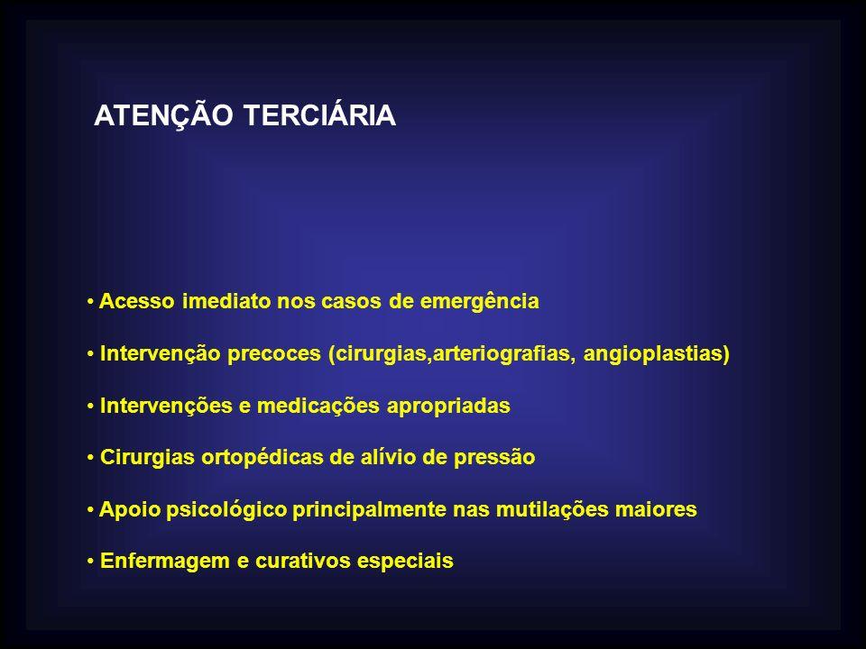 ATENÇÃO TERCIÁRIA Acesso imediato nos casos de emergência Intervenção precoces (cirurgias,arteriografias, angioplastias) Intervenções e medicações apr