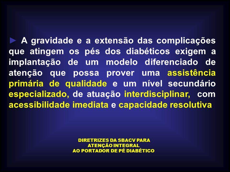 DIRETRIZES DA SBACV PARA ATENÇÃO INTEGRAL DIRETRIZES DA SBACV PARA ATENÇÃO INTEGRAL AO PORTADOR DE PÉ DIABÉTICO A gravidade e a extensão das complicaç