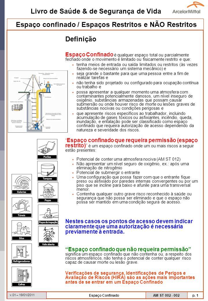Livro de Saúde & de Segurança de Vida AM ST 002 - 002 p. 1 v.01 – 19/01/2011 Espaço Confinado Espaço confinado / Espaços Restritos e NÃO Restritos Def