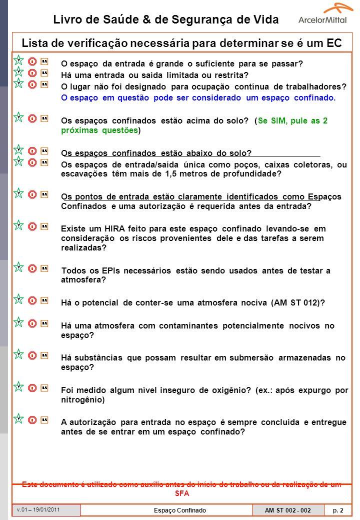 Livro de Saúde & de Segurança de Vida AM ST 002 - 002 p. 2 v.01 – 19/01/2011 Espaço Confinado Lista de verificação necessária para determinar se é um