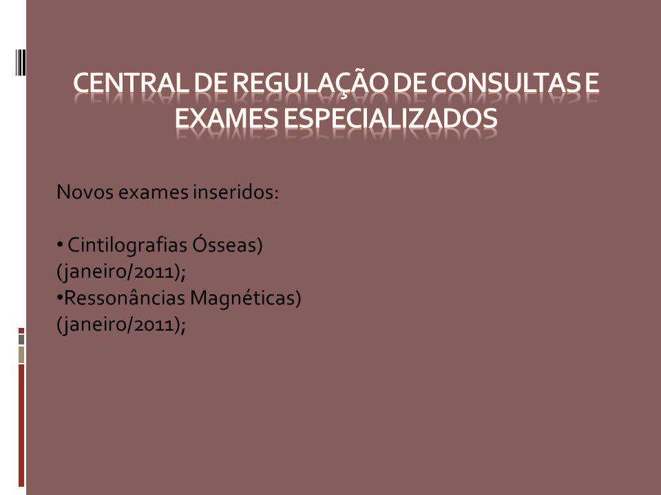 Novos exames inseridos: Cintilografias Ósseas) (janeiro/2011); Ressonâncias Magnéticas) (janeiro/2011);