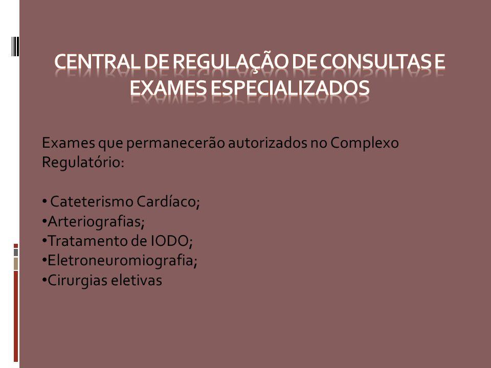 Exames que permanecerão autorizados no Complexo Regulatório: Cateterismo Cardíaco; Arteriografias; Tratamento de IODO; Eletroneuromiografia; Cirurgias