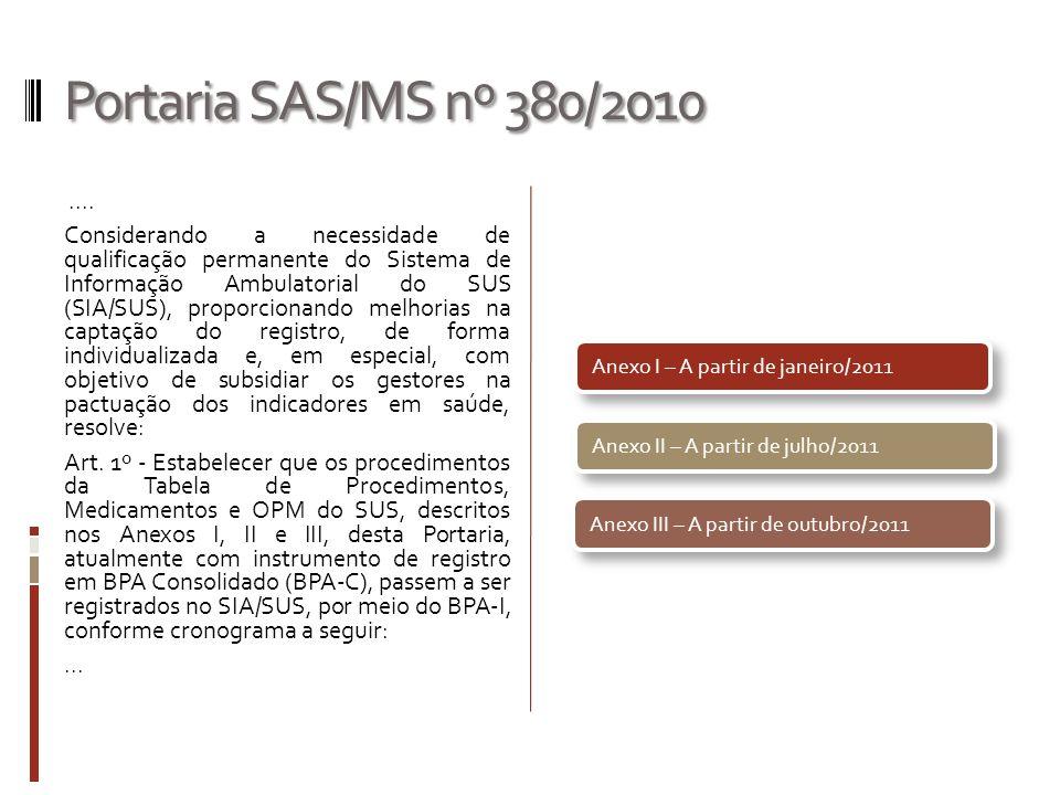 Portaria SAS/MS nº 380/2010.... Considerando a necessidade de qualificação permanente do Sistema de Informação Ambulatorial do SUS (SIA/SUS), proporci