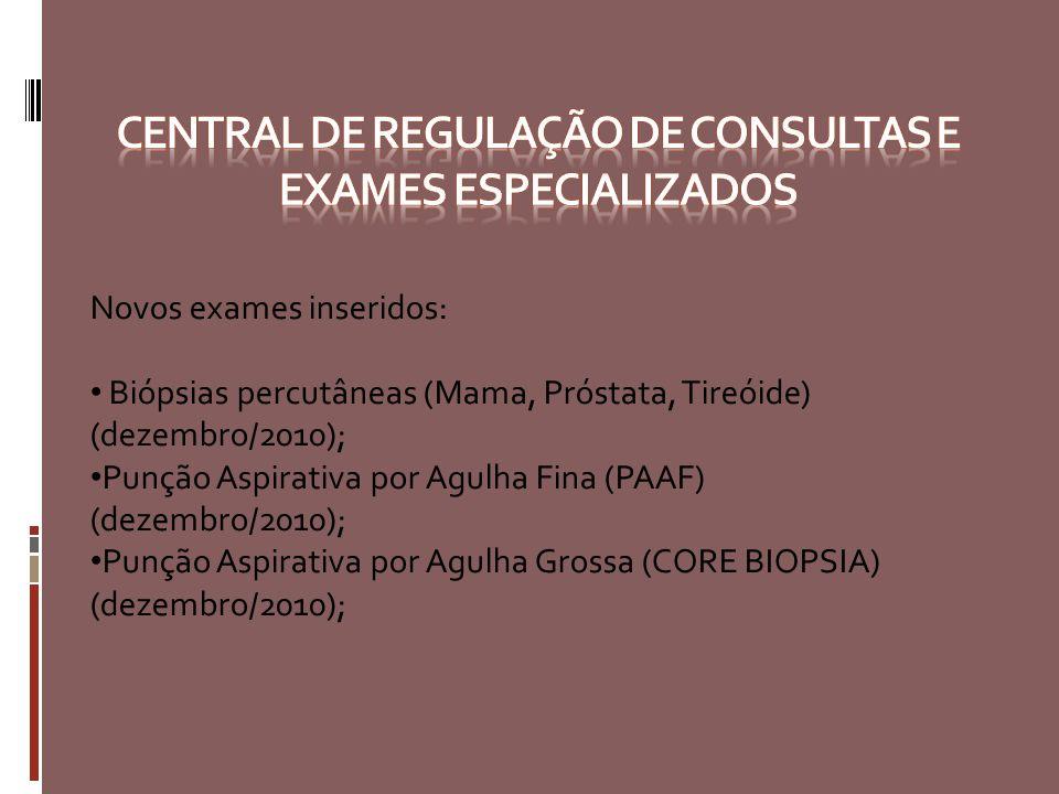 Novos exames inseridos: Biópsias percutâneas (Mama, Próstata, Tireóide) (dezembro/2010); Punção Aspirativa por Agulha Fina (PAAF) (dezembro/2010); Pun