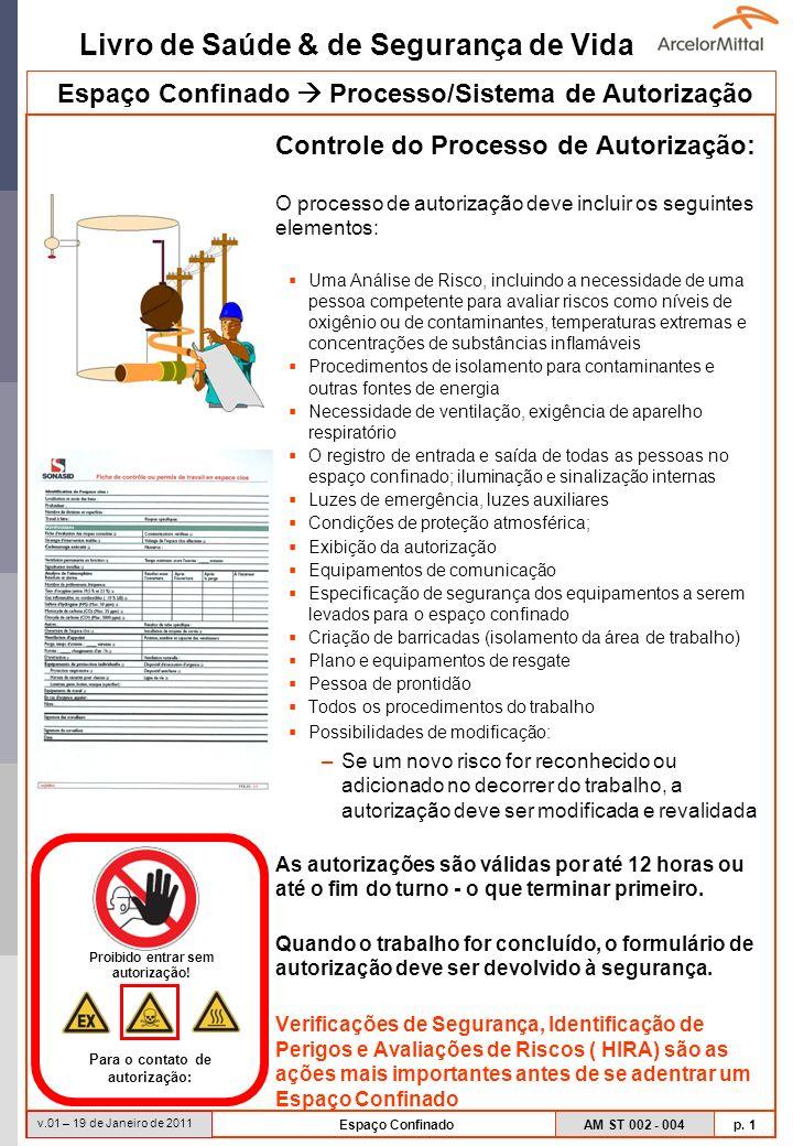 Livro de Saúde & de Segurança de Vida AM ST 002 - 004 p. 1 v.01 – 19 de Janeiro de 2011 Espaço Confinado Controle do Processo de Autorização: O proces