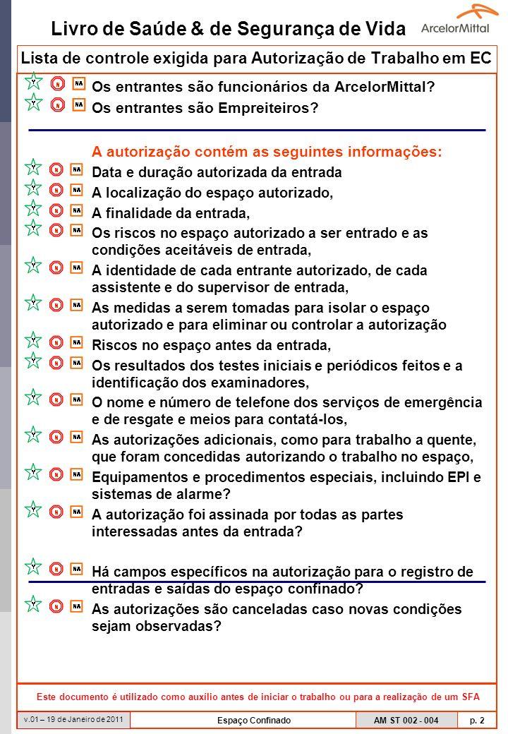 Livro de Saúde & de Segurança de Vida AM ST 002 - 004 p. 2 v.01 – 19 de Janeiro de 2011 Espaço Confinado Lista de controle exigida para Autorização de
