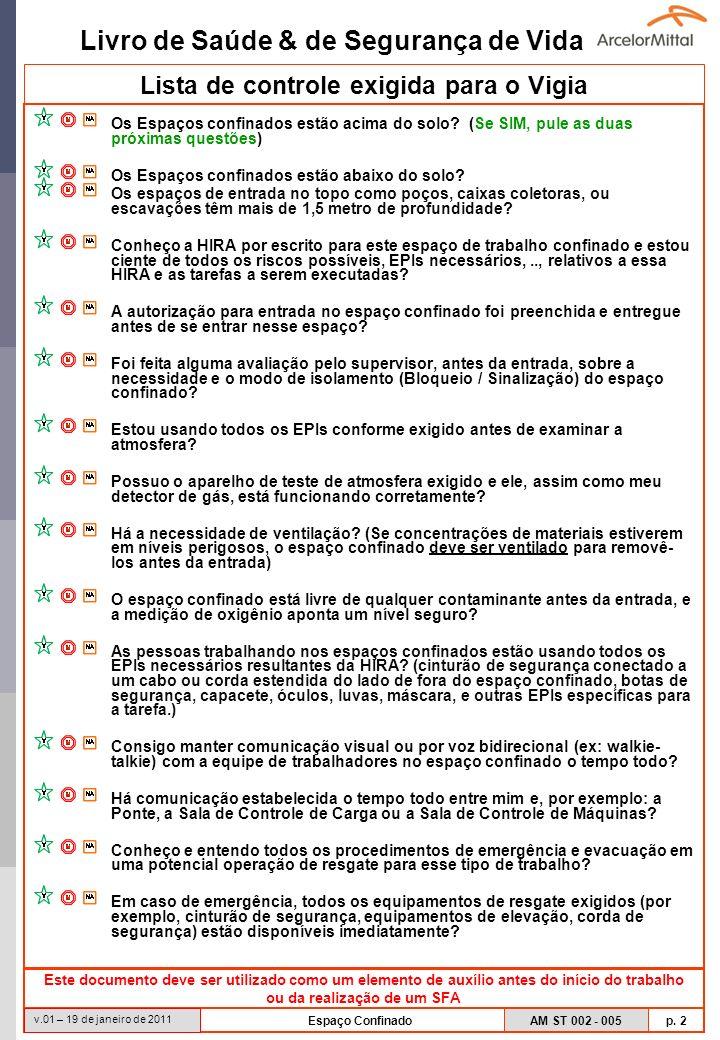 Livro de Saúde & de Segurança de Vida AM ST 002 - 005 p. 2 v.01 – 19 de janeiro de 2011 Espaço Confinado Lista de controle exigida para o Vigia Os Esp