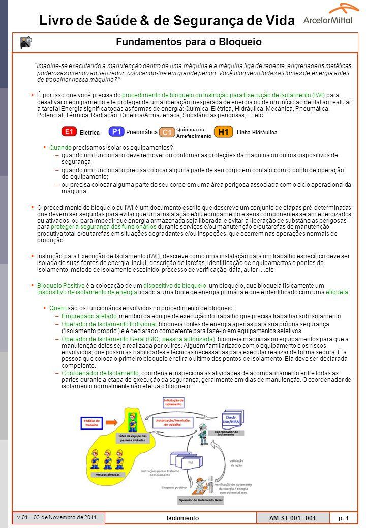 Livro de Saúde & de Segurança de Vida AM ST 001 - 001 p. 1 v.01 – 03 de Novembro de 2011 Isolamento Imagine-se executando a manutenção dentro de uma m