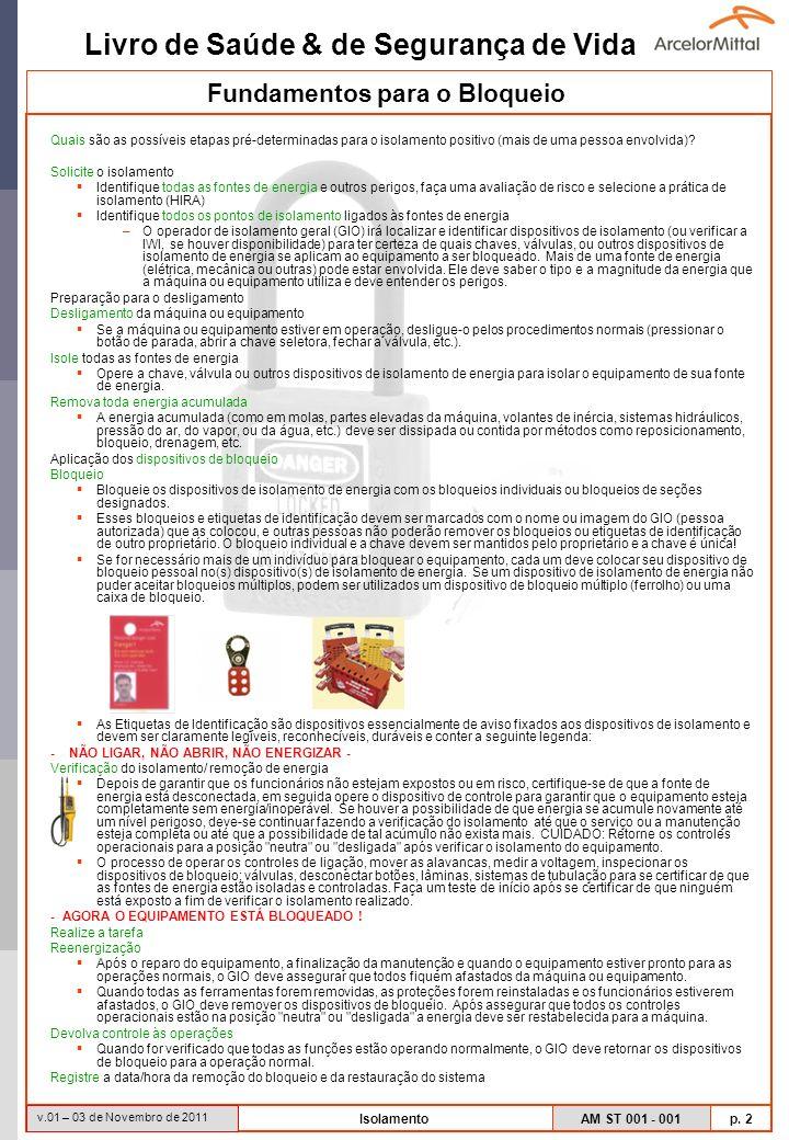 Livro de Saúde & de Segurança de Vida AM ST 001 - 001 p. 2 v.01 – 03 de Novembro de 2011 Isolamento Quais são as possíveis etapas pré-determinadas par