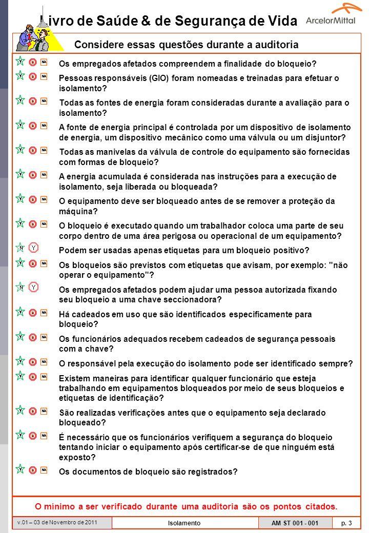 Livro de Saúde & de Segurança de Vida AM ST 001 - 001 p. 3 v.01 – 03 de Novembro de 2011 Isolamento Considere essas questões durante a auditoria O mín