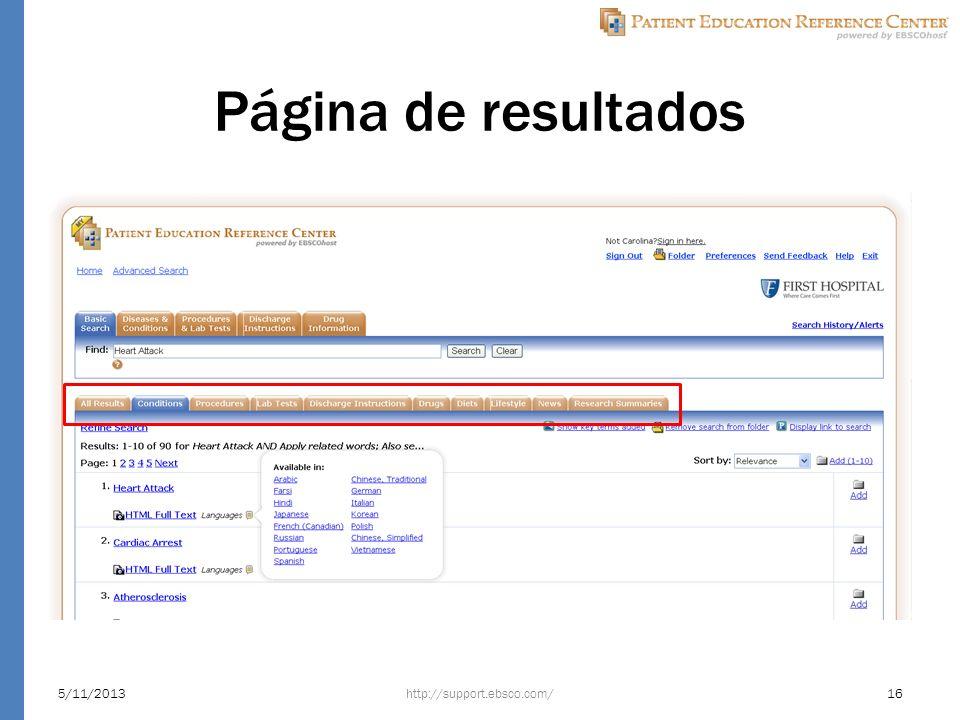 Página de resultados http://support.ebsco.com/5/11/201316