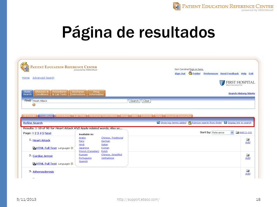 Página de resultados http://support.ebsco.com/5/11/201318
