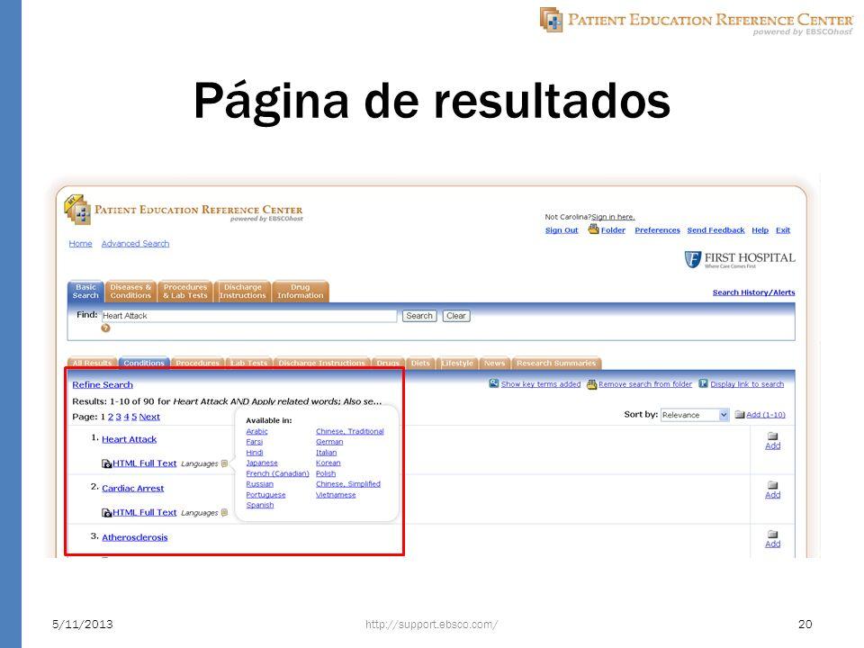 Página de resultados http://support.ebsco.com/5/11/201320