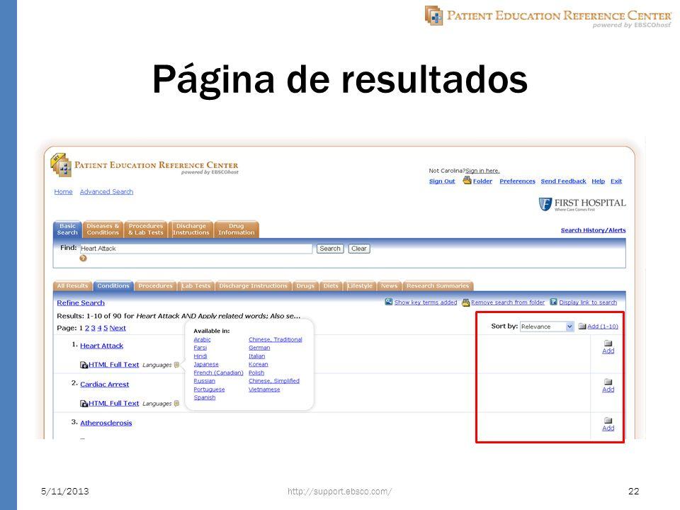 Página de resultados http://support.ebsco.com/5/11/201322