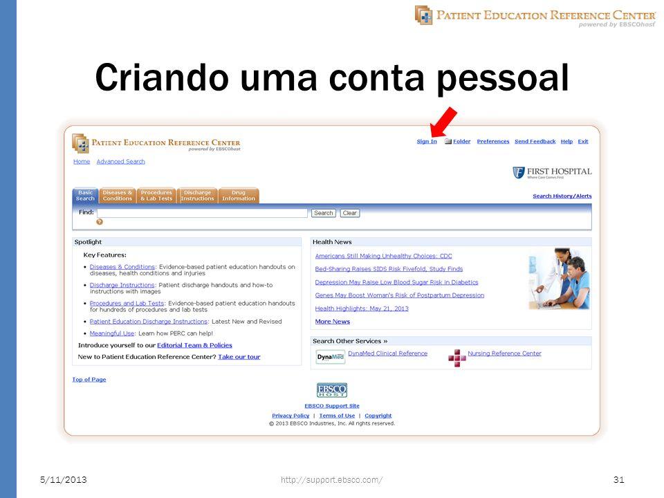 Criando uma conta pessoal http://support.ebsco.com/5/11/201331