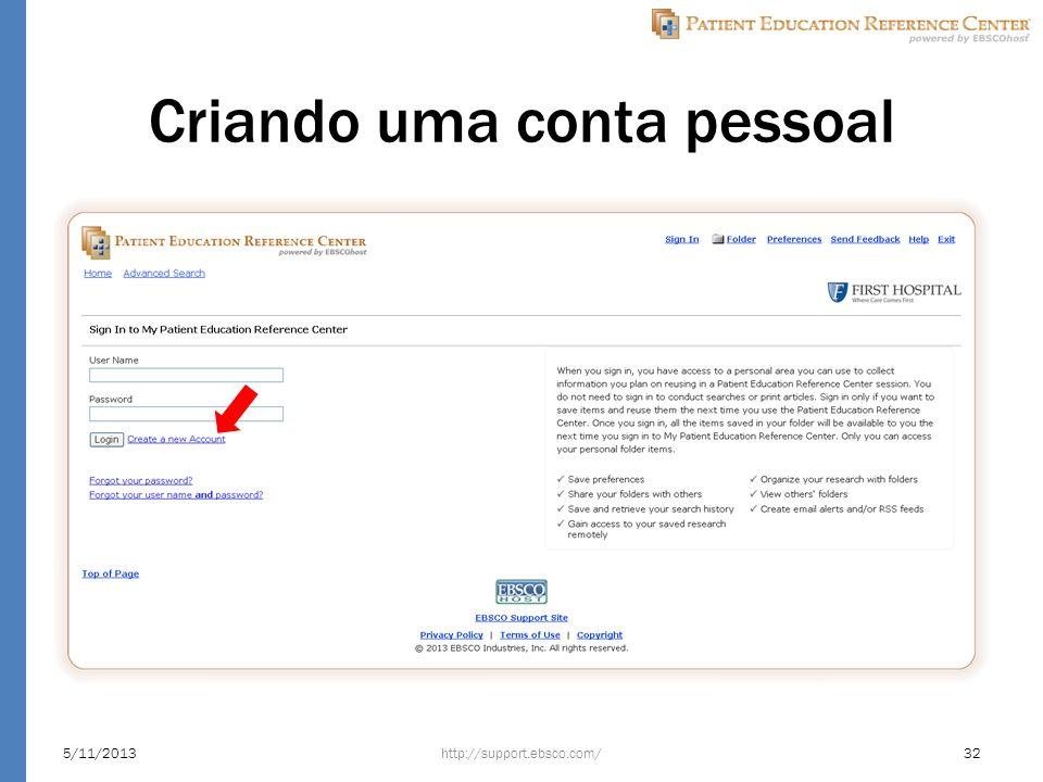 Criando uma conta pessoal http://support.ebsco.com/5/11/201332
