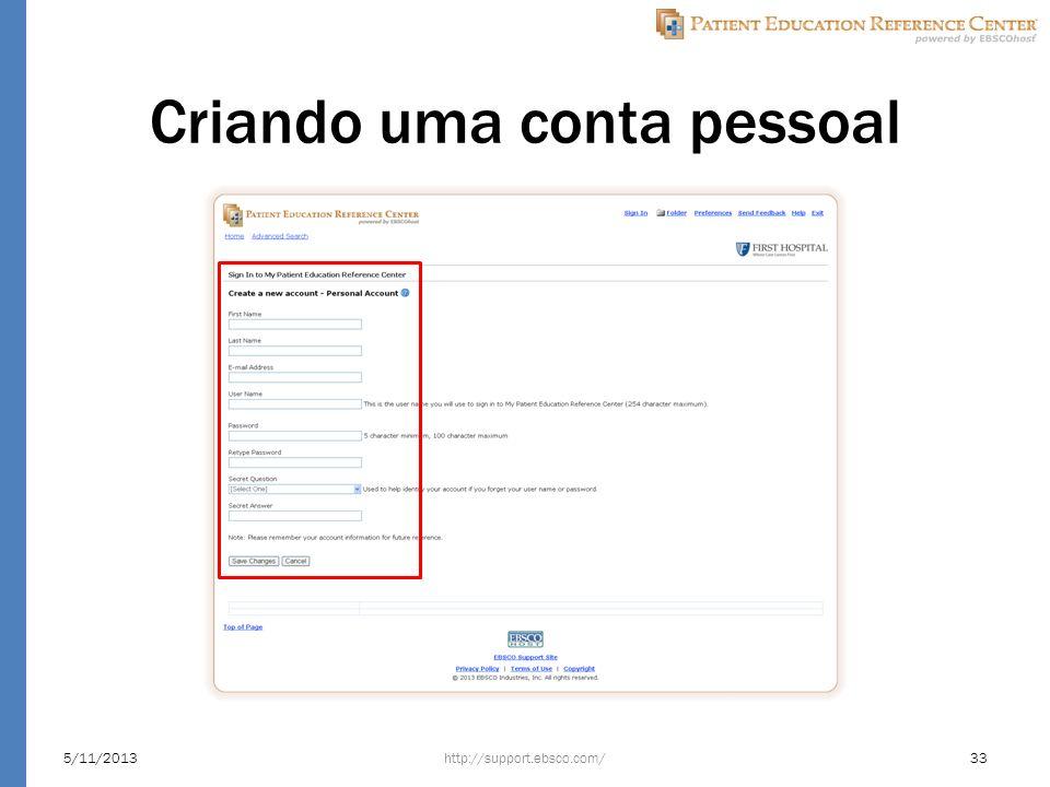 Criando uma conta pessoal http://support.ebsco.com/5/11/201333