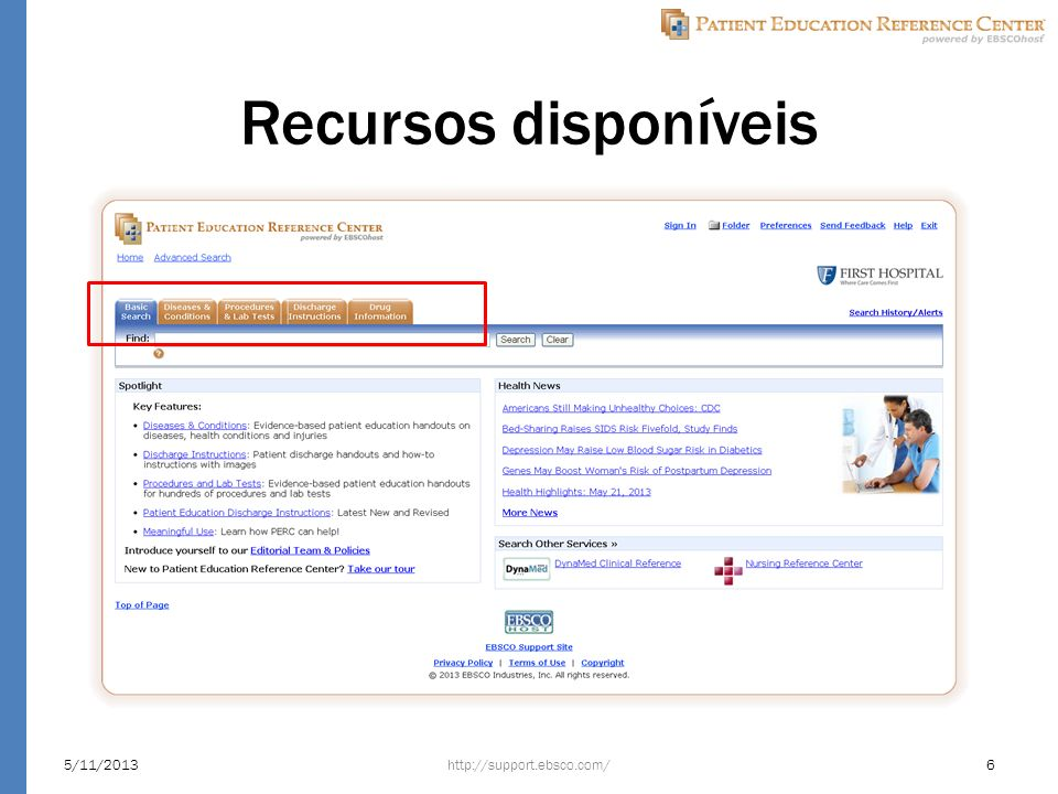 Recursos disponíveis http://support.ebsco.com/5/11/20136