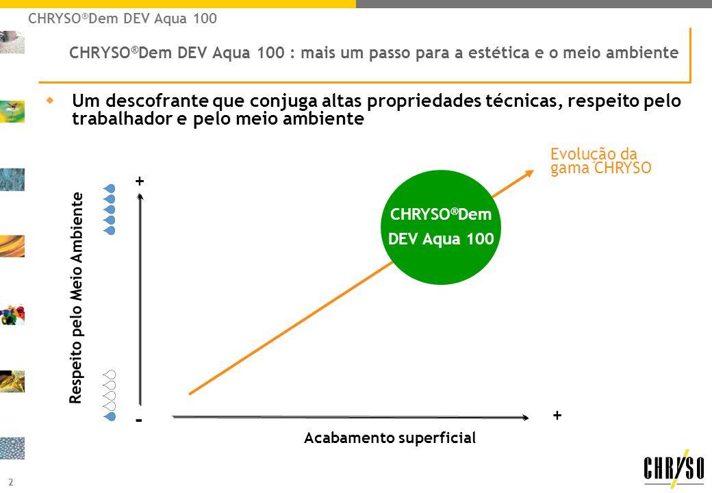 2 CHRYSO ® Dem DEV Aqua 100 : mais um passo para a estética e o meio ambiente wUm descofrante que conjuga altas propriedades técnicas, respeito pelo t