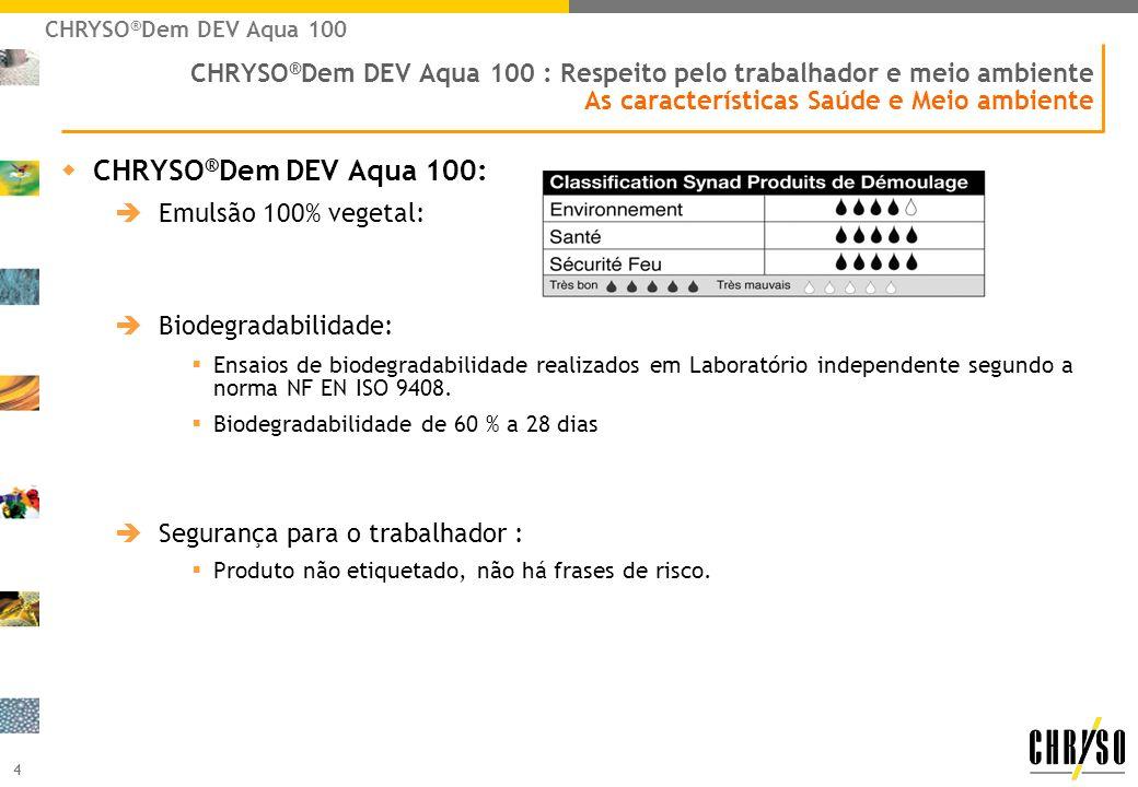 4 CHRYSO ® Dem DEV Aqua 100 : Respeito pelo trabalhador e meio ambiente As características Saúde e Meio ambiente wCHRYSO ® Dem DEV Aqua 100: Emulsão 1