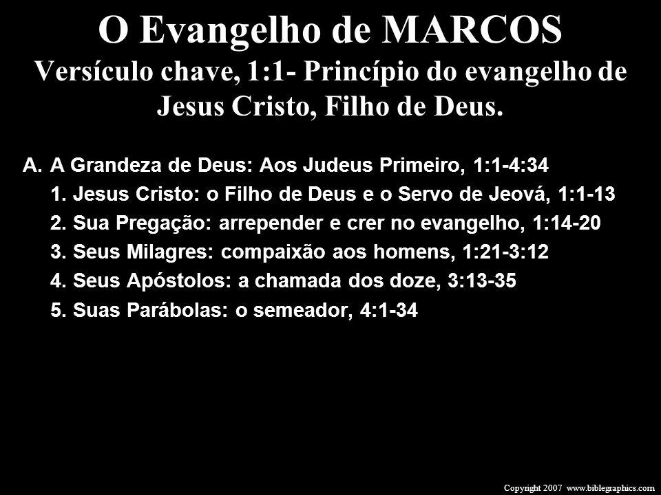 O Evangelho de MARCOS Versículo chave, 1:1- Princípio do evangelho de Jesus Cristo, Filho de Deus. A.A Grandeza de Deus: Aos Judeus Primeiro, 1:1-4:34
